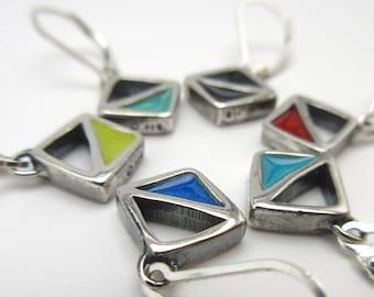 Triangular Geometric Earrings - Reversible Silver and Enamel Lever Back Earrings in Three Colorways