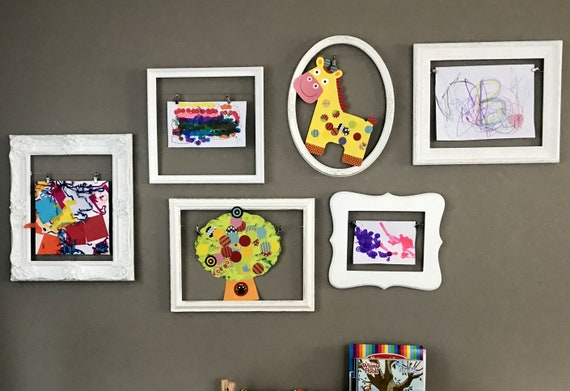 Distressed Childrens Room Gallery Wall Playroom Custom Frame Collection Bright Colorful Frames Custom Color Picture Frame Set