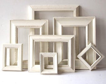 Farmhouse PICTURE FRAMES Set- Rustic Frame Set - Antique White - Wedding - Vintage Collection - Shabby Chic - Distressed - Gallery Wall