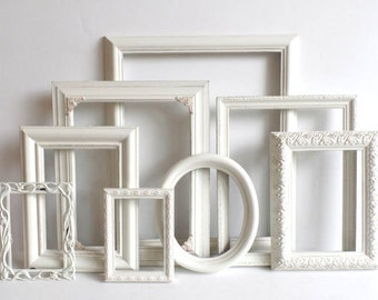 Cottage White PICTURE FRAME Set - Ornate Farmhouse - Nursery Frames - Wedding - Vintage Collection - Shabby Chic - Distressed - Gallery Wall