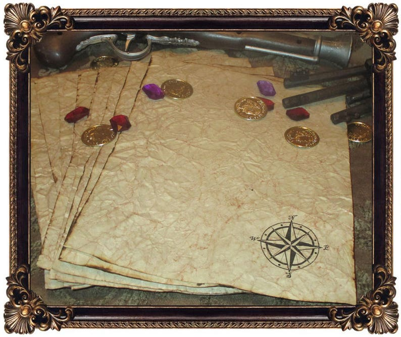 Pirate Treasure Map Themed Hand Antiqued Paper   10 Sheets image 0