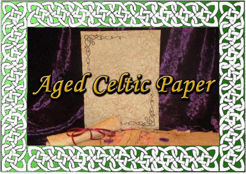 Celtic Motif Hand Antiqued Paper  10 Sheets image 0