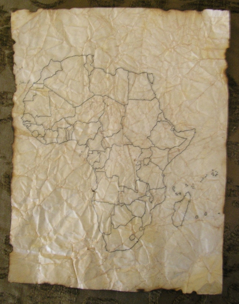 Hand Antiqued Maps of Africa  Blank  10 Sheets image 0