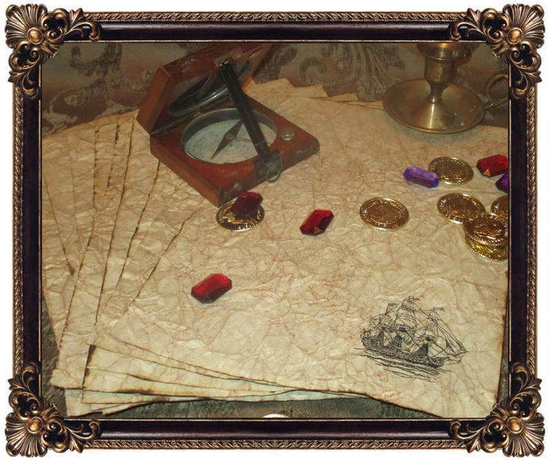 Pirate Ship  Antiqued Paper  10 Sheets image 0
