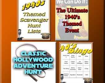 4 1940s Downloads - 1940s Bingo, Scavenger Hunt Lists and more - for a great 1940's Party!