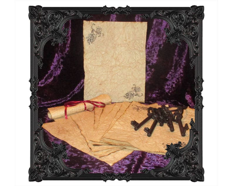 Gothic Themed Hand Antiqued Paper  10 Sheets image 0