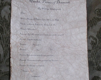 Hamlet - Antiqued reproduction of first page