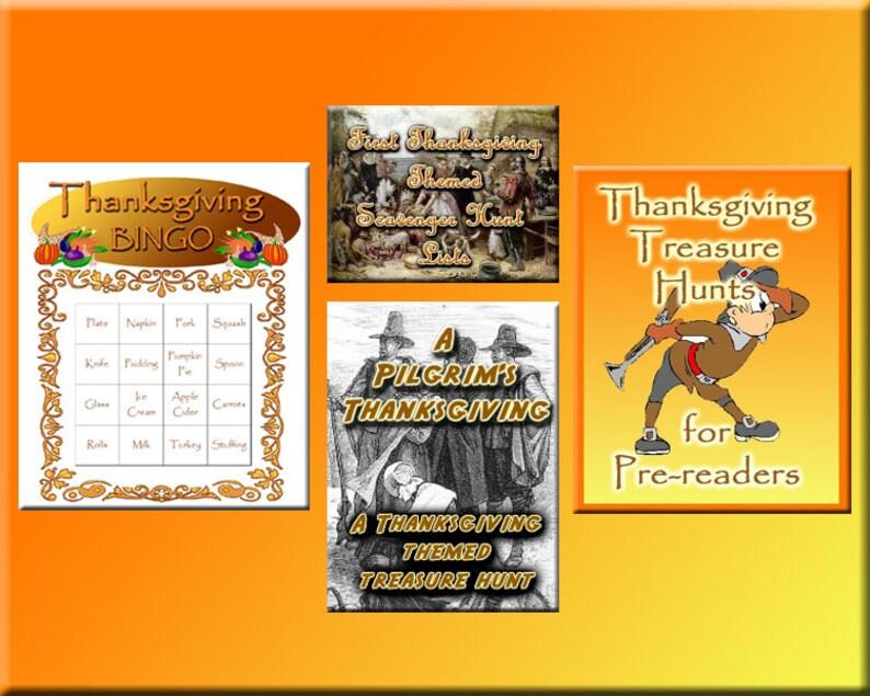 4 Thanksgiving Downloads  Thanksgiving Bingo Treasure Hunt image 0