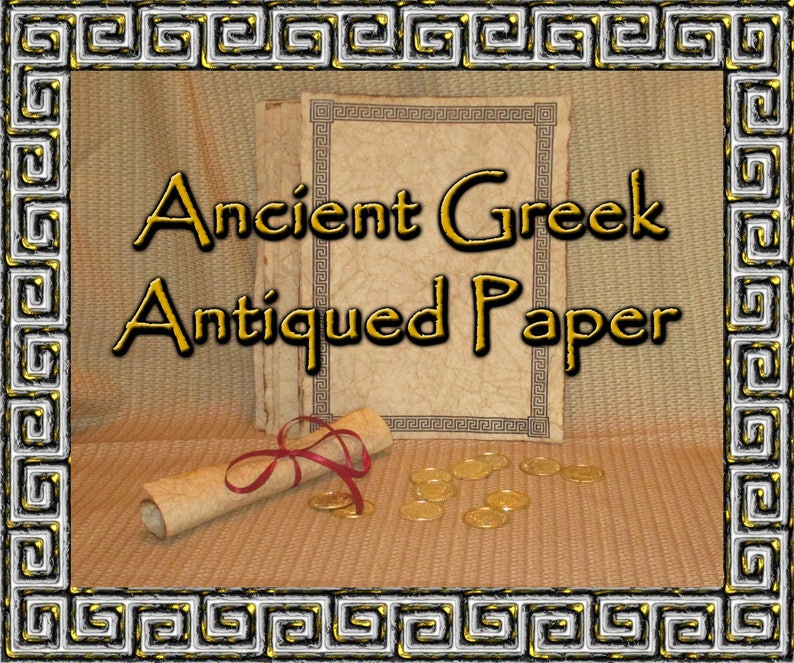 Greek Themed Hand Antiqued Paper  10 Sheets image 0