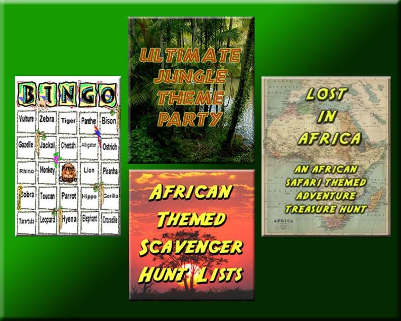 4 Jungle Party Downloads  Jungle Bingo Treasure Hunt Puzzles image 0