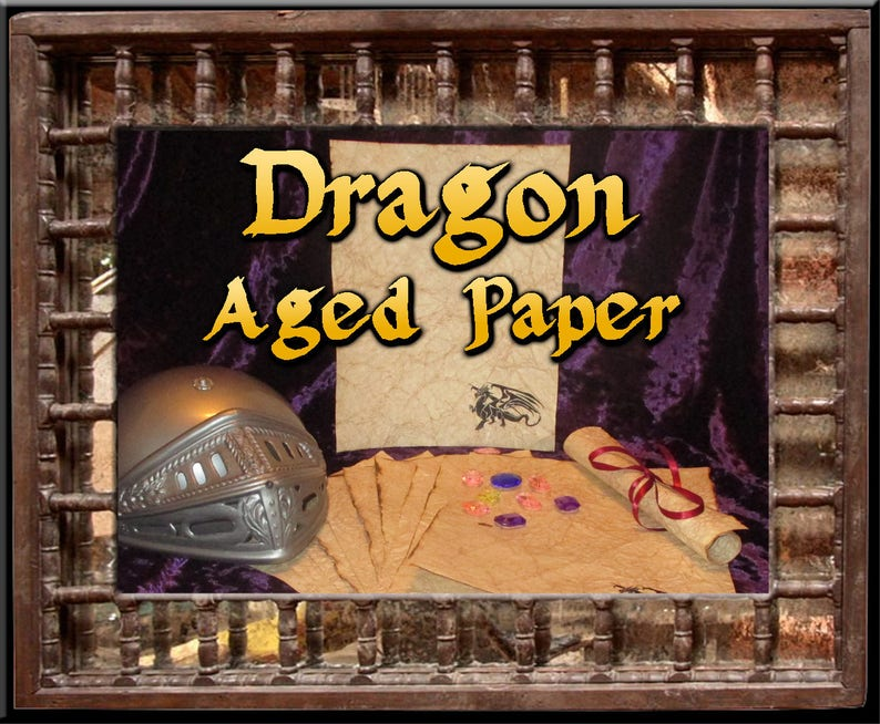Medieval Dragon  Antiqued Paper  10 Sheets image 0