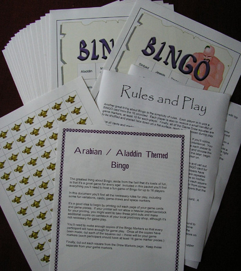 Arabian / Aladdin Themed Bingo Set image 0