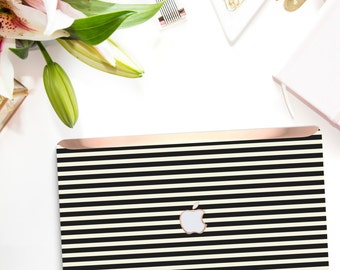 Black Stripes    Kate Spade Inspired . Distinctive Macbook Hard Case and Bold Rose Gold Accents . Macbook Pro 13 Case . Custom Monogram