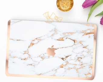 Minimal Marble Gold Bianco Sivec . Distinctive Macbook Hard Case and Bold Rose Gold Accents . Macbook Pro 13 Case . Custom Monogram
