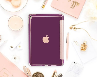 "Purple Davenport with Rose Gold Smart Cover Hard Case for      iPad 9.7 2018.  iPad Pro 12.9 2018 . iPad Pro 11"" . iPad Air 10.5"""