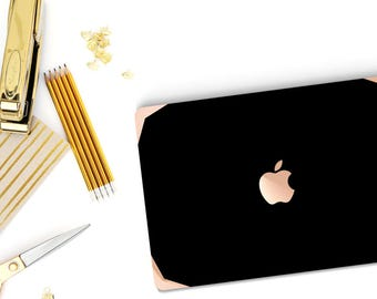 Elegant Black and Boomerang Rose Gold . Distinctive Macbook Hard Case and Bold Rose Gold Accents . Macbook Pro 13 Case . Custom Monogram