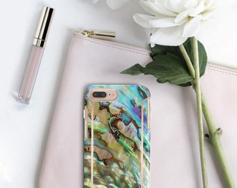 Abalone Shell with Rose Gold   Hard Case Otterbox Symmetry           . iPhone X . iPhone Xs Max . iPhone XR . iPhone 8 . PopSocket