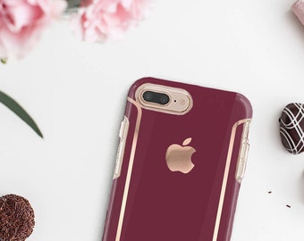 Burgundy iPhone Case and Rose Gold   Otterbox Symmetry                . iPhone X . iPhone Xs Max . iPhone XR . iPhone 8 . PopSocket