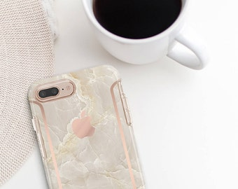 Breccia Beige and Rose Gold Case Otterbox Symmetry            Collection. iPhone X . iPhone Xs Max . iPhone XR . iPhone 8 . PopSocket