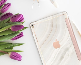 "Marble Stone with Rose Gold Smart Cover Hard Case for the   .  iPad 9.7 2018      .  iPad Pro 12.9 2018 . iPad Pro 11"" . iPad Air 10.5"""