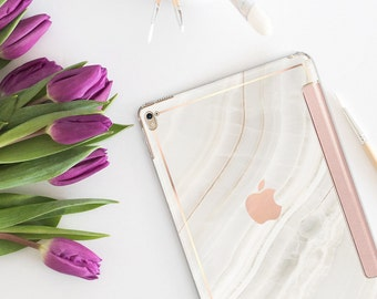 "Marble Stone with Rose Gold Smart Cover Hard Case for the   .  iPad 9.7 2018      .  iPad Pro 12.9"" 2020 . iPad Pro 11"" . iPad Air 10.5"""