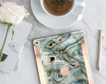 iPad Case . iPad Pro 10.5 . Blue Agate Marble iPad Case and Rose Gold Detailing iPad Pro 9.7   Smart Keyboard compatible Hard Case