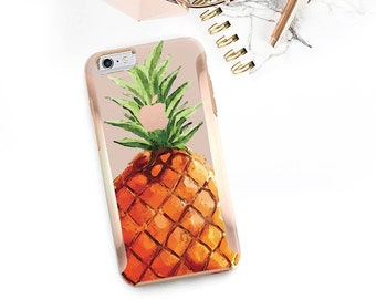 Pineapple and Rose Gold Hard Case Otterbox Symmetry                . iPhone X . iPhone Xs Max . iPhone XR . iPhone 8 . PopSocket