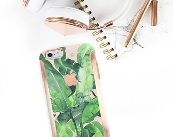 Banana Leaf and Rose Gold Hard Case Otterbox Symmetry              . iPhone X . iPhone Xs Max . iPhone XR . iPhone 8 . iPhone 11
