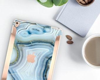 "Case    Agata Azzurra Marble Case and Rose Gold     Smart Keyboard compatible Hard Case  . iPad Air 10.5"" . iPad Mini 5 . iPad Pro 10.5"""