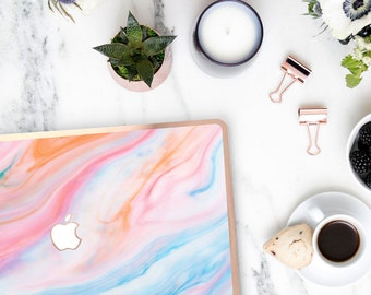 Playful Pastel Marble Swirl . Distinctive Macbook Hard Case and Bold Rose Gold Accents . Macbook Pro 13 Case A2159  . Custom Monogram