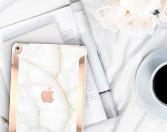 "iPad Case    White Stone Case and Rose Gold       Smart Keyboard Compatible Hard Case . iPad Air 10.5"" . iPad Mini 5 . iPad Pro 10.5"""