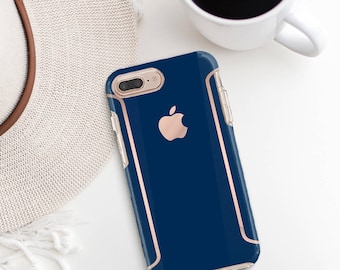Navy Blue iPhone Case and Rose Gold   Otterbox Symmetry              . iPhone X . iPhone Xs Max . iPhone XR . iPhone 8 . PopSocket