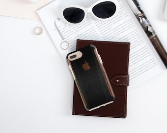 Brushed Black and Primavera Wood Hard Case Otterbox Symmetry. iPhone X . iPhone Xs Max . iPhone XR . iPhone 8 . iPhone 11
