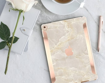 "Case    Breccia Beige Marble Case and Rose Gold     Smart Keyboard compatible Hard Case  . iPad Air 10.5"" . iPad Mini 5 . iPad Pro 10.5"""