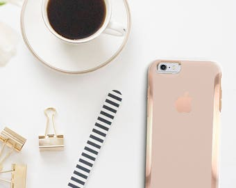 Toasted Wheat and Rose Gold Hard Case Otterbox Symmetry              . iPhone X . iPhone Xs Max . iPhone XR . iPhone 8 . PopSocket