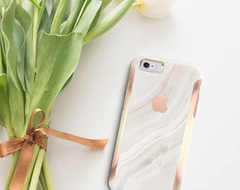 Marble Stone and Rose Gold Case Otterbox Symmetry                  . iPhone X . iPhone Xs Max . iPhone XR . iPhone 8 . PopSocket