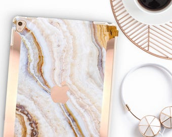 "iPad Case    Pina Onyx Marble Case and Rose Gold     Smart Keyboard compatible Hard Case  . iPad Air 10.5"" . iPad Mini 5 . iPad Pro 10.5"""