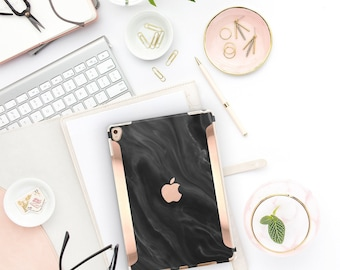 "Black Marble Swirl with Bold Rose Gold Accents   Smart Keyboard compatible Hard  . iPad Air 10.5"" . iPad Mini 5 . iPad Pro 10.5"""