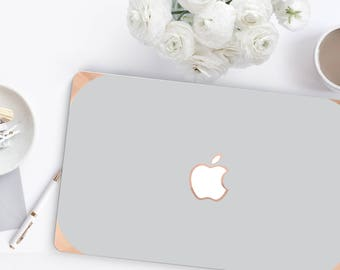 Macbook Pro 13 Case Macbook Air Case Laptop Case Macbook Case . Shades of Gray with Rose Gold Chrome Edge             - Platinum Edition