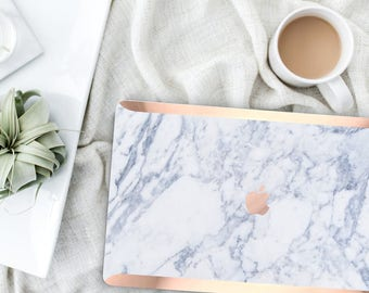 White Marble Makrana Marble . Distinctive Macbook Hard Case and Bold Rose Gold Accents . Macbook Pro 13 Case A2159  . Custom Monogram