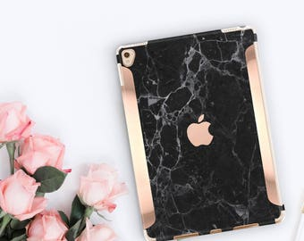 iPad Case . iPad Pro 10.5 . Black Marble iPad Case and Rose Gold Detailing iPad Pro 9.7   Smart Keyboard compatible Hard Case