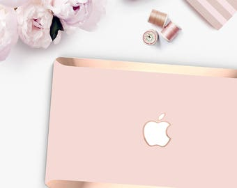 Trendy Pink and Rose Gold Macbook Hard Case . Distinctive Hand-Made Macbook Hard Case with Bold Rose Gold Accents . Macbook Pro 13 Case