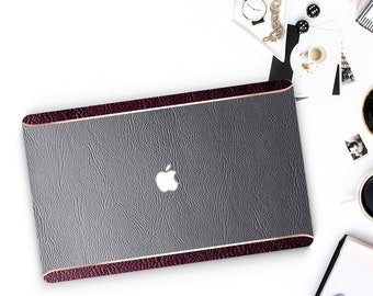 Leather Gray and Burgundy with Thin Rose Gold Accents Macbook Hard Case . Hand-Made Macbook Case  . Macbook Pro 13 Case . Macbook Air 13