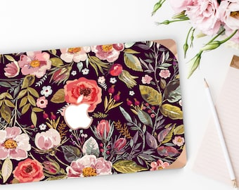 Macbook Pro 13 Case Macbook Air Case Laptop Case Macbook Case . Midnight Floral Medley with Rose Gold Chrome Edge