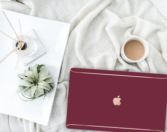 Burgundy with Thin Rose Gold Detailing. Distinctive Macbook Hard Case and Bold Rose Gold Accents . Macbook Pro 13 Case . Custom Monogram