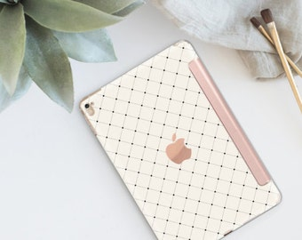 "Simple is Beautiful Minimalist Grid with Rose Gold Smart Cover Hard Case iPad 9.7 2018.  iPad Pro 12.9"" 2020 . iPad Pro 11"" . iPad Air 10.5"""