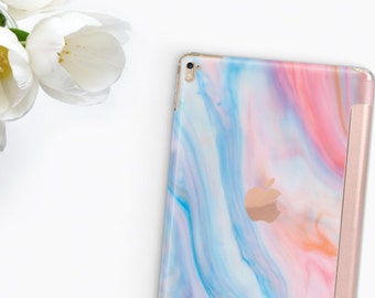 "Pastel Marble with Rose Gold Smart Cover Hard Case for      iPad 9.7 2018.  iPad Pro 12.9 2018 . iPad Pro 11"" . iPad Air 10.5"". iPad Mini 5"