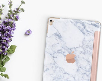Marble Makrana White with Rose Gold Smart Cover Hard Case for    iPad Pro  . New iPad 9.7 2018  . New iPad Pro 12.9 2018 . iPad Pro 11""