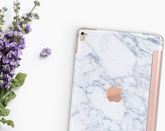 "Marble Makrana White with Rose Gold Smart Cover Hard Case for      iPad 9.7 2018  .  iPad Pro 12.9"" 2020 . iPad Pro 11"" . iPad Air 10.5"""