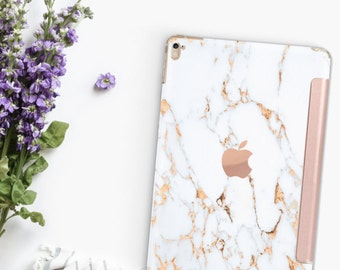 "Bianco Sivec Gold Veins Marble Rose Gold Smart Cover Hard Case for      iPad 9.7 2018.  iPad Pro 12.9 2018 . iPad Pro 11"" . iPad Air 10.5"""